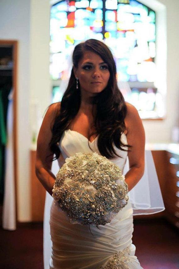 Hochzeit - Ready to Ship Crystal Brooch Bouquet Similar to Snooki Nicole LaValle's