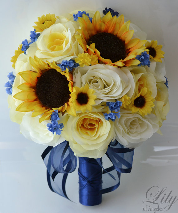 "Mariage - 17 Piece Package Silk Flower Wedding Decoration Bridal Bouquet Sunflower YELLOW IVORY Dark BLUE ""Lily Of Angeles"""