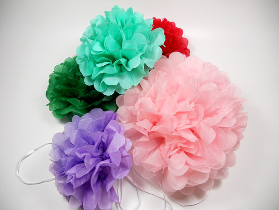"""Mariage - Birthday Decorations * Tissue Paper Pom Poms * 3 Large Paper Poms  * 14"""" * Tissue Poms, PomPom,Tissue Pom Poms,Choose Your Colors"""