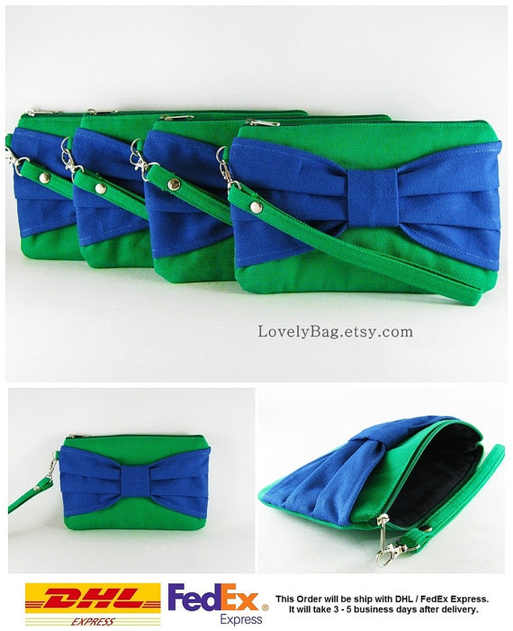 Hochzeit - SUPER SALE - Set of 7 Clover Green with Royal Blue Bow Clutches - Bridal Clutches, Bridesmaid Wristlet, Wedding Gift - Made To Order