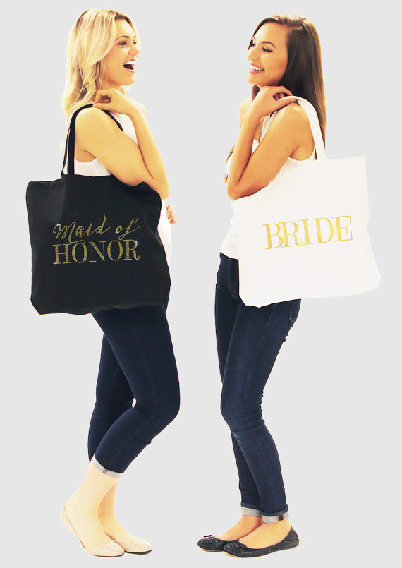 Hochzeit - Bridal Party Gift - Bridal Party Totes, Gold Wedding Party Totes, Gold Bridal Tote, Bachelorette Party Tote, Gold Bachelorette Party