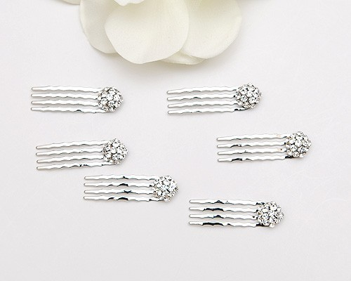 Mariage - Set of 6, small swarovski crystal hair combs for any occasions, silver metal color, bride, bridesmaids