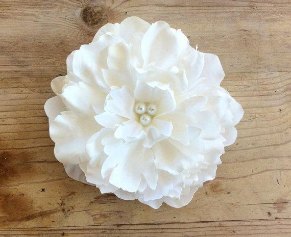 Wedding - White Peony Hair Flower, Wedding, Bridal Headpiece, Pearls, Fascinator, Large, Clip, Elegant, Simple, Ready to Ship