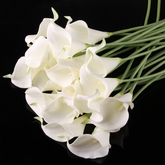 زفاف - 100pcs  White Cally Lily Real Nature Touch Flowers for DIY Bridal Bouquet Wedding Bouquet with Scent high quality