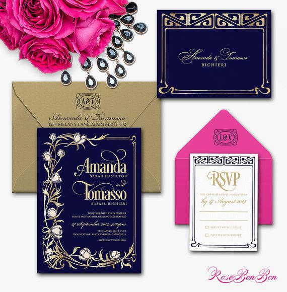 زفاف - Printable Wedding Invitation Set - Dyi Art Nouveau Wedding Invitation - Luxury Wedding invitation