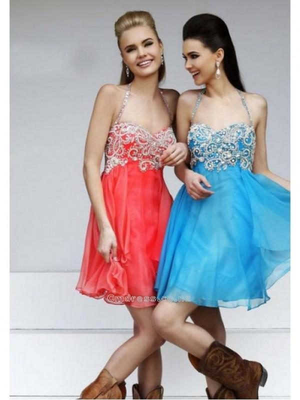 Wedding - A Line Halter Beading Sequin Short/Mini Chiffon Homecoming DressSKU: HD00020