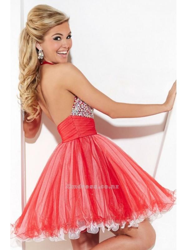 Свадьба - A Line Halter Short Mini Lovely Tulle Beading Homecoming DressesSKU: HD00172
