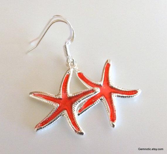 Hochzeit - Flower girl earrings, flower girl gift, flower girl jewelry, starfish earrings, beach wedding, girls earrings, girls jewelry,wedding jewelry