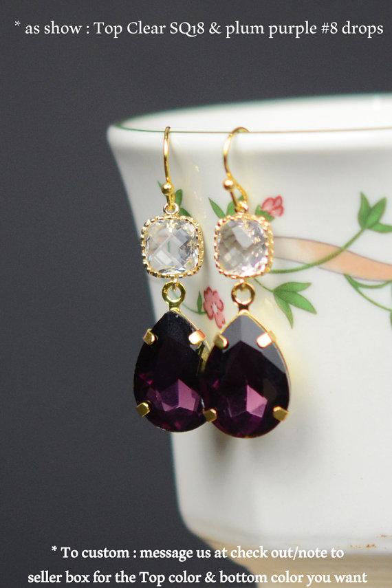 Gold Blush Purple Eggplant Earrings Bridesmaid Wedding Jewelry Plum Gift