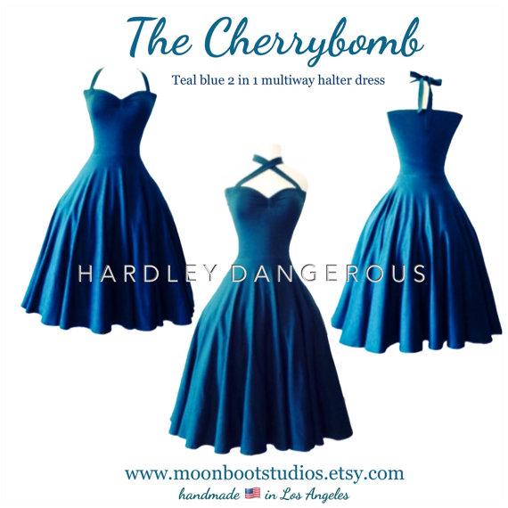 Wedding - Balance due for Bridgette Stanley, (1) Size Medium CHERRYBOMB 2 in 1 Criss cross halter dress, Misses Knee Length, expedited production