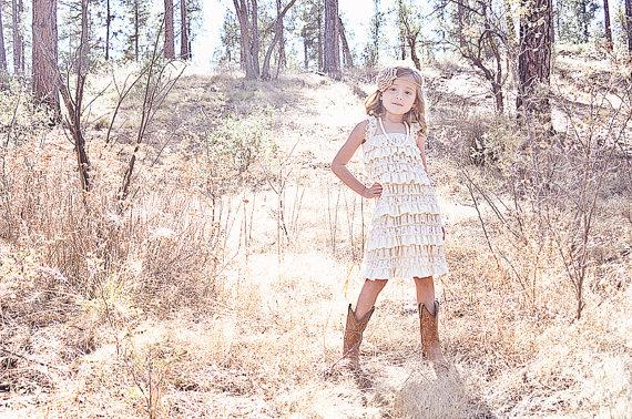 Wedding - Rustic Flower Girl Dress -Lace Pettidress/Rustic Flower Girl/Country Flower Girl Dress Cream/Wheat Cream/Country Wedding-Vintage Weddin