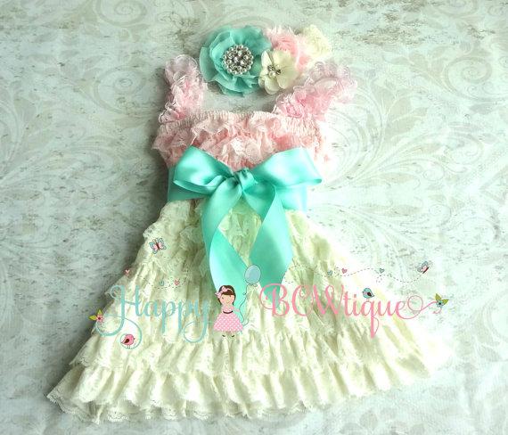 Wedding - flower girl dress, Ivory Aqua Mint Pink Dress set, baby girls' dress, Girls 1st Birthday dress, Flower Girls Dress, Ivory dress, Baby Girls