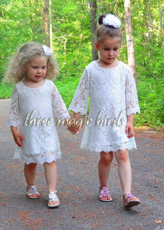 Wedding - Lace Flower Girl Dress-Newborn Christening Baptism-3/4 Sleeve Flower Girl Dress-Country FlowerGirl-Bridesmaid Dress-Rustic Wedding-Communion