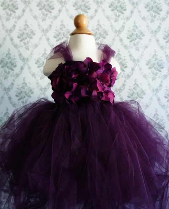 Wedding - Flower girl dress Deep Purple tutu dress, flower top, hydrangea top, toddler tutu dress