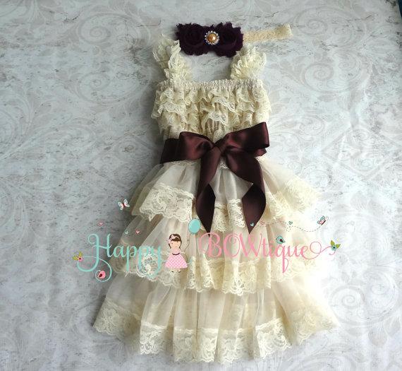 Wedding - Rustic Flower girls' dress- Champagne PlumTier Dress set, Baby Girls' Dress,Champagne Dress, Girls Fall Country dress, Ivory dress,baby girl