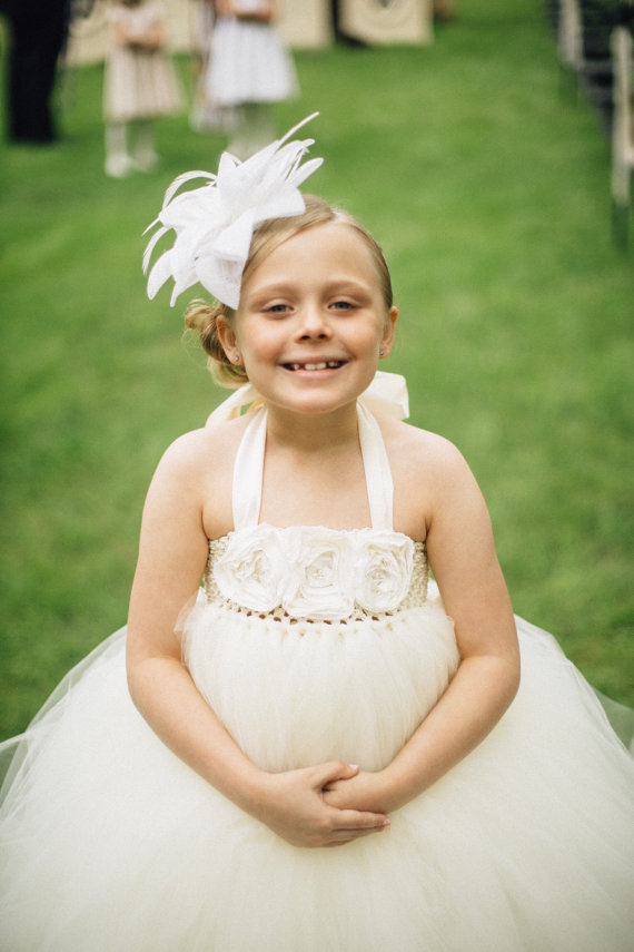 Wedding - Flower Girl Dress, Ivory Shabby Pearls Flower Girl Tutu Dress, Tutu Flower Girl Dress, Dresses for Flower Girls