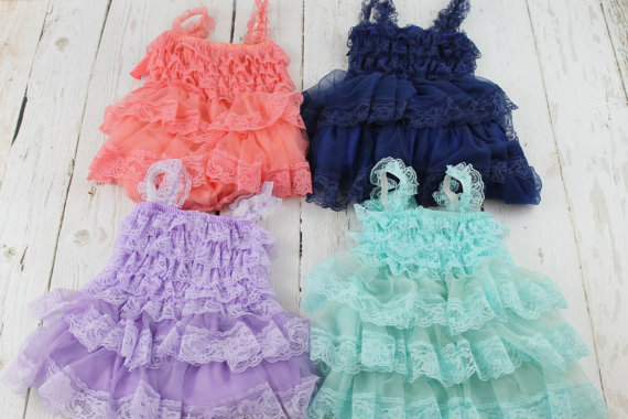 Mariage - Coral Country Flower Girl Dress Aqua Rustic Flower Girl Dress Lavender Navy Junior Bridesmaid Dress Ivory Jr Bridesmaid Grey Flower Girl
