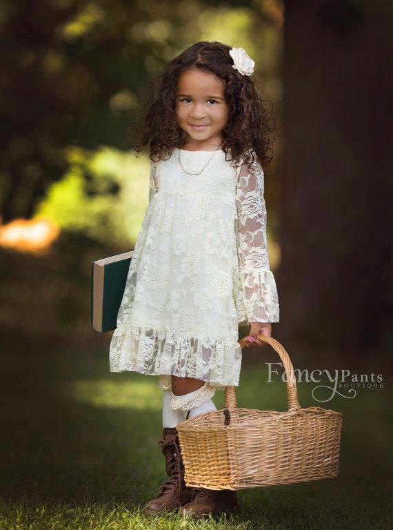 Hochzeit - Flower Girl Dress - Boho style- Ivory Flower girl dress - Lace flower girl dresses-  Long sleeve lace dress- lace dress, Toddler Dress