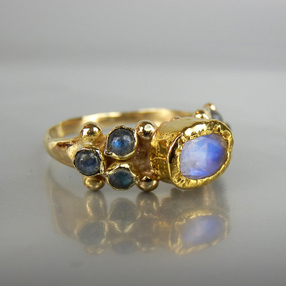 Solid Gold Ring Moonstone Ring Alternative Engagement Ring