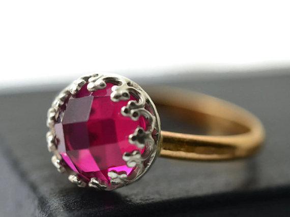 Wedding - 8mm Ruby Ring, Dark Pink Gemstone Ring, Artisan 14K Gold Fill Ring, Hammered Gold Band