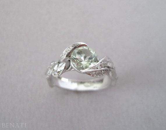 Свадьба - Green Amethyst Leaf Ring, Engagement Leaf Ring, Diamond Engagement Ring, White Gold Diamond leaf Ring With Green Amethyst, Leaves Engagement