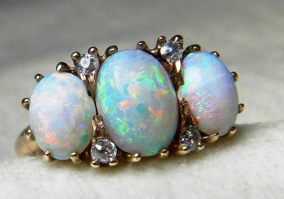 Opal Ring 225 Ct Opal Engagement Ring Australian Blue Opal Ring