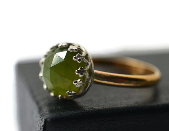 Wedding - Forest Green Gemstone Ring, Vesuvianite Ring, Natural Gemstone Jewelry, 14K Gold Fill Ring, Green and Gold Jewelry