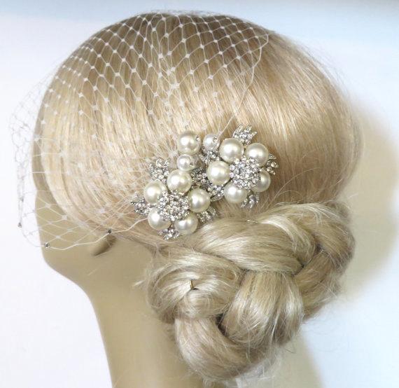 Wedding - Birdcage Veil and a Bridal Pearls Hair Comb 2 Items,bridal veil, Bridal Headpiece Blusher Bird Cage Veil accessories Wedding comb rhinestone