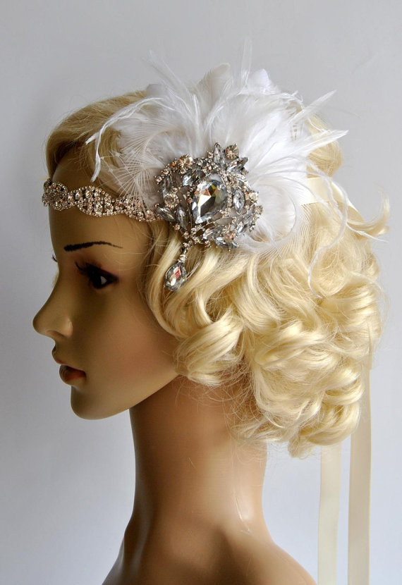 Свадьба - Glamour Rhinestone Flapper 1920s headpiece, Rhinestone Headband, Bridal wedding headband, the great gatsby headpiece, rhinestone flapper