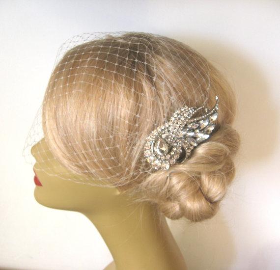 Wedding - Birdcage Veil  and a Bridal Hair Comb (2 Items), Decorative Combs, bridal veil, Headpieces Comb Swarovski Pearls Wedding comb bri headpieces