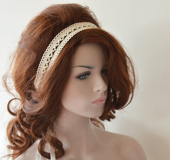Nozze - Rustic Lace Wedding Headband, Ivory Lace Headband, Bridal Hair Accessory, Rustic Wedding Hair Accessory