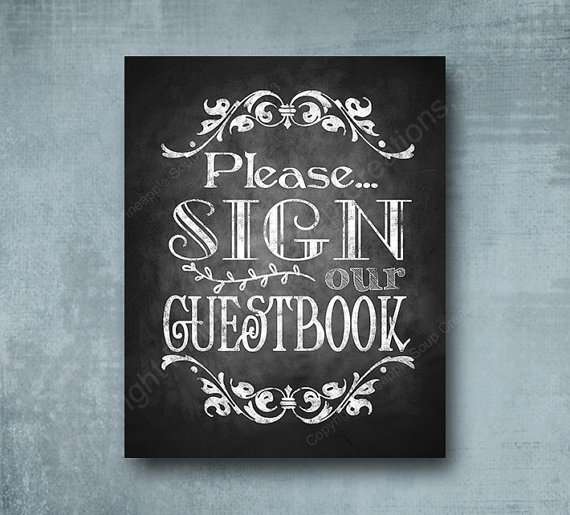 Mariage - PRINTED Please sign our Guestbook Wedding sign - chalkboard signage -  with optional add ons - Royal Wedding Collection