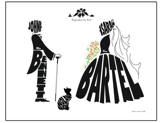 زفاف - Personalized Bride and Groom Wedding with Dog or Cat Print, Silhouette Name Art, Custom Wedding Gift