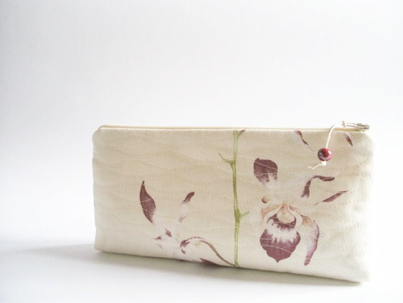 Hochzeit - Christmas Gift for Woman, Purple Orchids Wedding Clutch, Orchid Bridal Purse, Preppy Cosmetic Bag