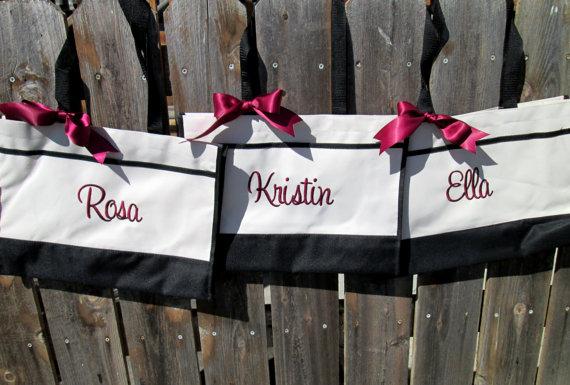 زفاف - 9 Monogrammed Tote Bags, Bridesmaid Gift, Tote Bag