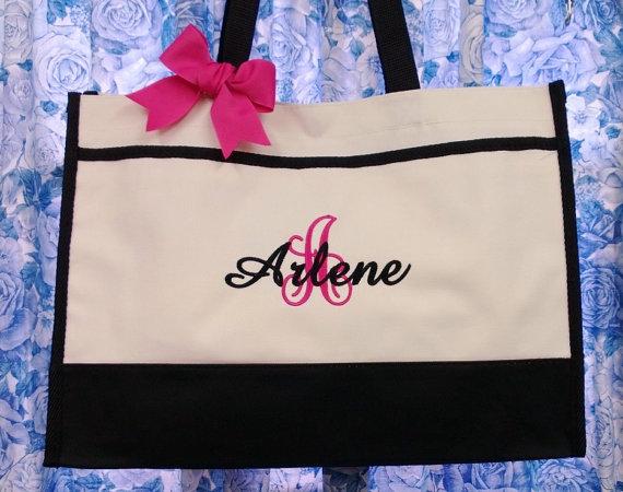 زفاف - 5 Personalized Tote Bags monogrammed with 1-large initial & 1-name