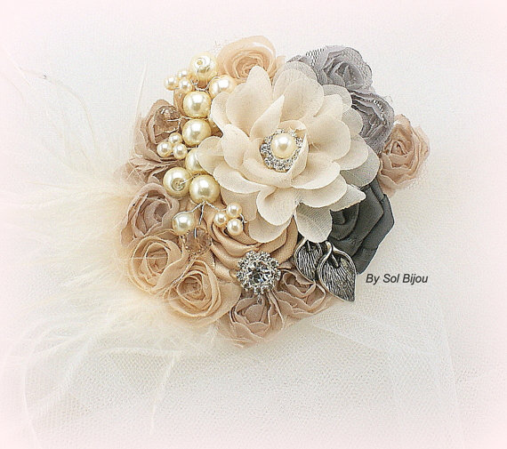 Hair Clip Bridal Wedding Fascinator Blush Pink Ivory