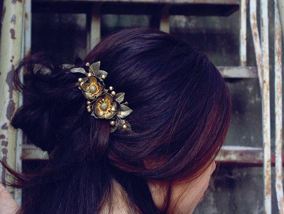 Wedding - floral hair clip ,cherry blossom hair pin ,handmade by polymer clay