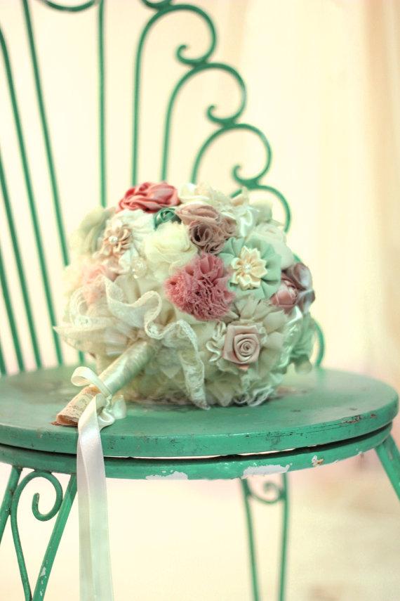 Mariage - Wedding bouquet, bridal bouquet,men boutonnieres, pastel bouquet, fabric flowers custom bouquet