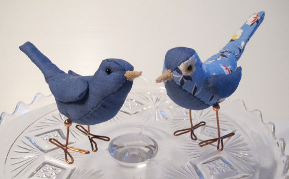Hochzeit - Wedding Cake Topper Birds: Blue and Blue Floral Fabric Birds Cake Topper for weddings, Love Birds, Bird Pair