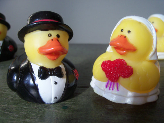 Wedding - Vintage Wedding Reception Decoration Table Cake Topper Rubber Duck Couple Bride Groom Many Sets Available