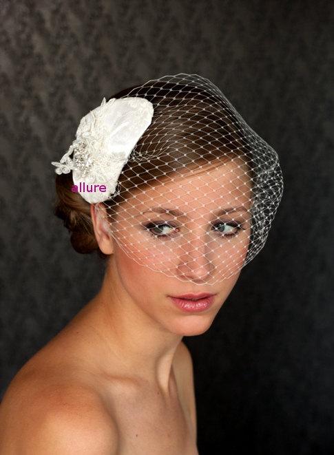 زفاف - WEDDINGS Bridal Birdcage Veil. Wedding Headpiece, Wedding Veil. Bandeau Birdcage Veil, Bridal Hat, Wedding Fascinator