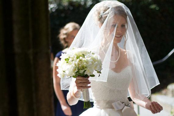زفاف - Drop veil with rolled hem circular veil round drop veil bridal veil wedding veil elbow length veil veil with blusher