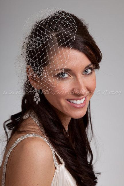 """Mariage - Mini Birdcage Veil, 7"""" Bridal Veil, Wedding Veil - Available In A Wide Range Of Colors"""