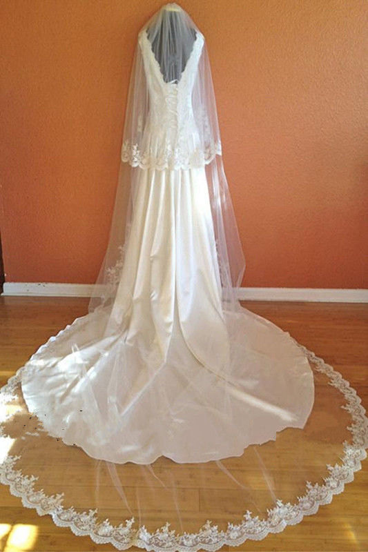 Mariage - 2 Tier Cathedral Lace veil / 118 inches in length by 60 inches wide/ Ivory or White / We can customize it for you ...