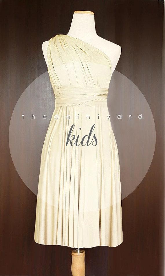 Hochzeit - KIDS Champagne Bridesmaid Dress Convertible Dress Infinity Dress Multiway Dress Wrap Dress Twist Dress Flower Girl Dress