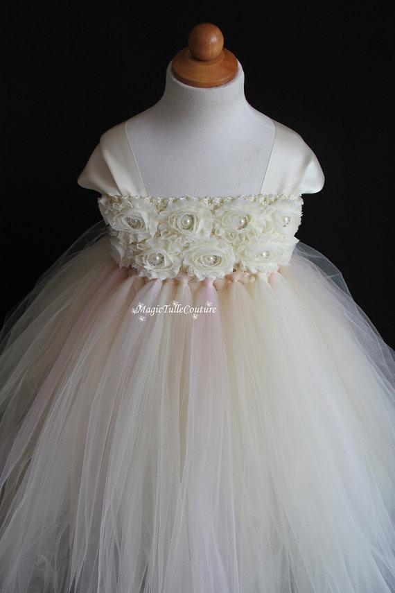 Wedding - Ivory champagne and rosette flower girl tutu dress wedding dress tulle dress birthday party dress 1t2t3t4t5t6t7t8t9t10t