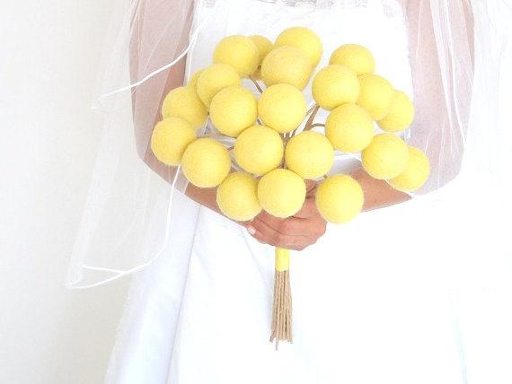 Mariage - Yellow Felt Flower Bridal Bouquet for your Wedding, Bright Spring Summer Wedding, Sunflower