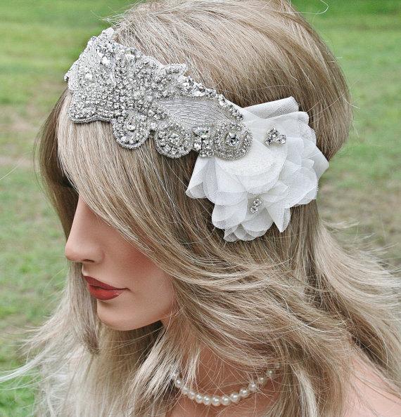 Wedding - Rhinestone Wedding Headband, Crystal Bridal Headband, Wedding Headpiece, Rhinestone Floral Ribbon Headband, 1920s Glam, Great Gatsby