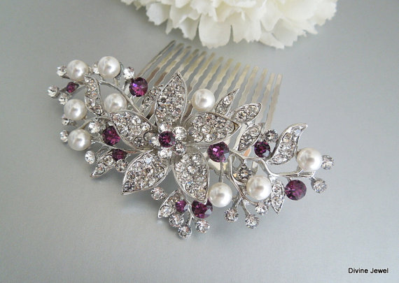 Hochzeit - Bridal Purple Swarovski Crystal Wedding Comb,Wedding Hair Accessories,Vintage Style Purple Pearl Leaf Rhinestone Bridal Hair Comb,Clip,KATY